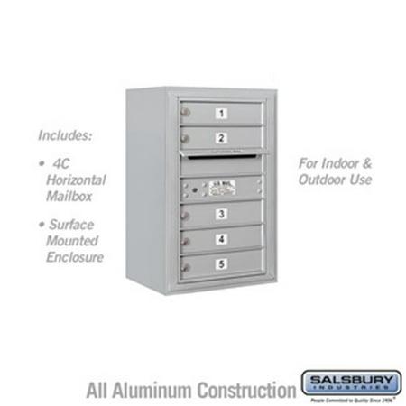 Salsbury 3807S-05AFU 28 - 0.125 in. 7 Door High Unit Single Column 5 MB1 Doors Front Loading Surface Mounted 4C Horizontal Mailbox Unit, Aluminum - USPS Access