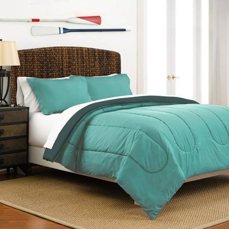 Reversible Full/Queen Light Grey/Navy Comforter Set ()