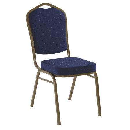Iceberg Banquet Chair, 4-Pack, Crown, Navy Pattern/Gold Vein Frame