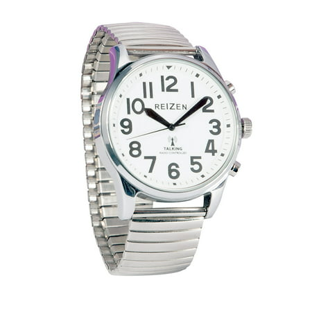 Reizen Big Face Talking Atomic Watch with Silver Expansion Band - Silver Face