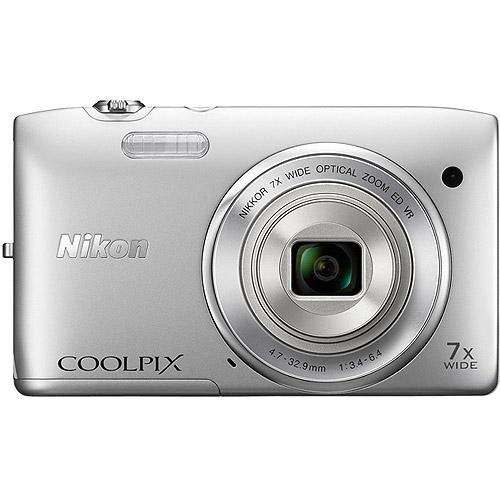 Nikon Coolpix 26361 S3500 20.1 Megapixels Digital Camera - 7x Optical/4x Digital Zoom - 2.7-inch LCD Display - 4.7-32.9 mm Lens - Silver
