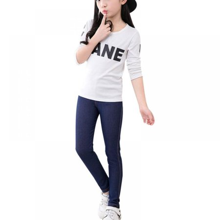 Cleanrance Velocity Kids Girl High Waist Elastic Leggings Jeans Classic Pull on Skinny Jean Children's Faux Denim Fabric Pants