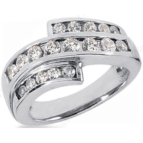 1.25ct Round Cut Diamond Wedding Anniversary Band, Size 6, Channel Set, Platinum by