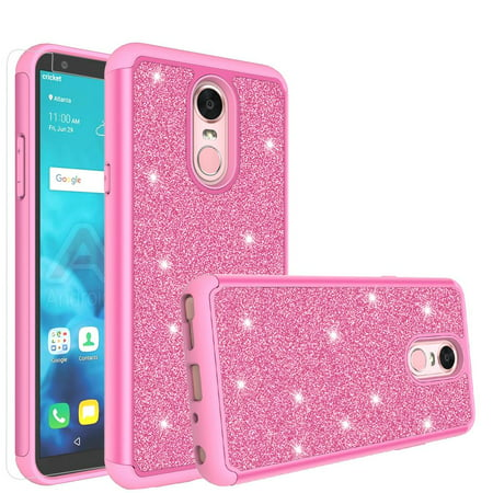 LG Stylo 4/LG Stylo 4 Plus Case, Glitter Shock Proof [HD Screen Protector] Hybrid Protective Phone Case Cover - Hot Pink Hot Pink Protector Cover