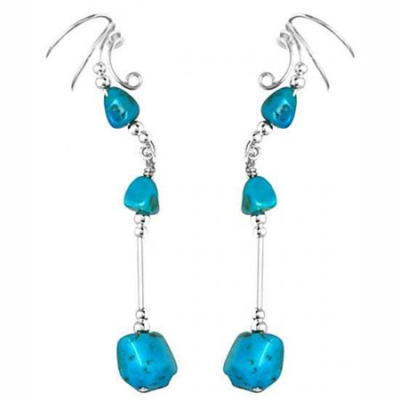 Sterling Silver Left Right Long Dangle Blue Turquoise Stone Nuggets Ear Cuff Wrap -