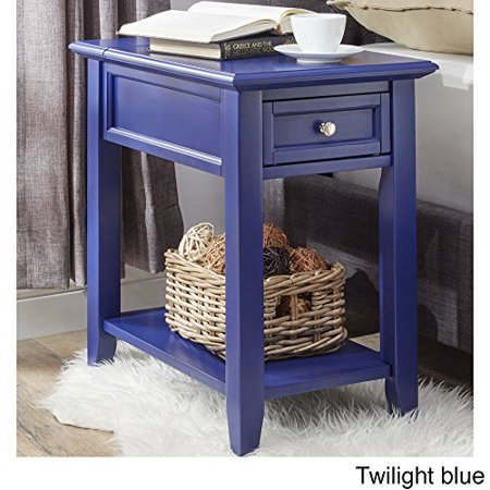 Modern Wooden Accent End Table Night Stand With Hidden Power Strip