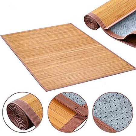 Topcobe Bamboo Bath Mat Floor Rug, Waterproof and Weather Resistant Natural Wood Bathroom Shower Foot Carpet, Multi-Panel Strip Foldable Roll Up Non Slip Mat for Kitchen Indoor Use (5 x 8)ft ()