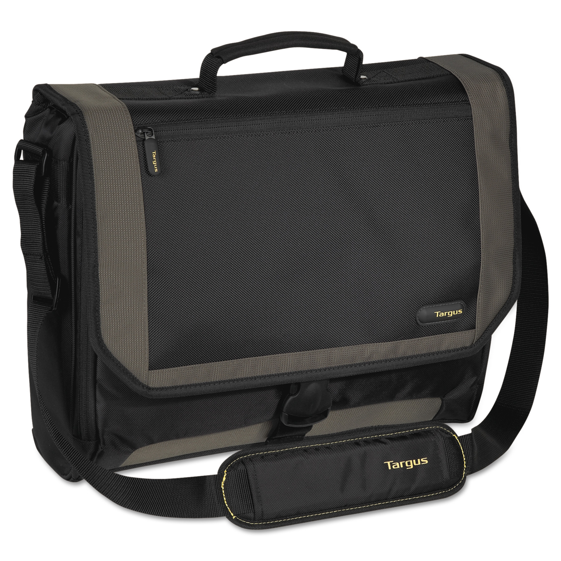 Targus CityGear Miami Messenger Laptop Case, Nylon, 19 x 5 x 14, Black Gray Yellow by Targus