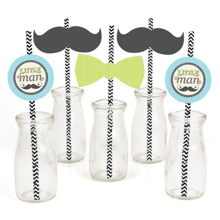 Dashing Little Man Mustache - Paper Straw Decor - Baby Shower or Birthday Party Striped Decorative Straws - Set of 24 - Mustache Centerpiece Ideas