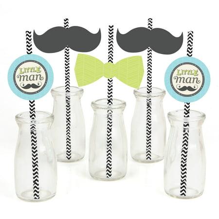 Mustache Paper Straws (Dashing Little Man Mustache - Paper Straw Decor - Baby Shower or Birthday Party Striped Decorative Straws - Set of)