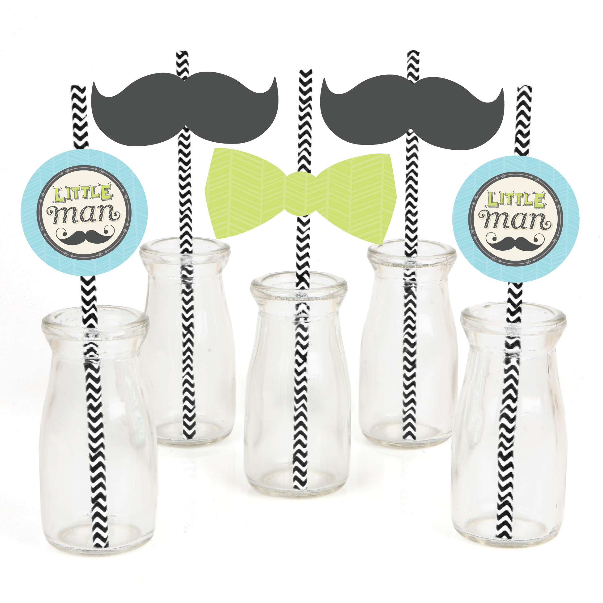 Dashing Little Man Mustache - Paper Straw Decor - Baby Shower or Birthday Party Striped Decorative Straws - Set of 24
