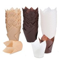 Tulip Cupcake Liners, 150 pieces Baking Cups Baking Cup Holders and Muffin Baking Cups for Wedding, Birthday, Christmas, Baby Shower Parties, Brown, White and Nature color