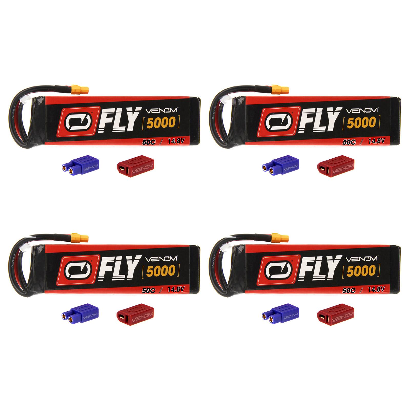 Venom Fly 50C 4S 5000mAh 14.8V LiPo Battery with  UNI 2.0 Plug (XT60/Deans/EC3) x4 Packs Compare to E-flite EFLB50004S30