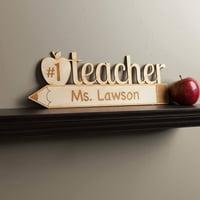 Teacher Appreciation Number One Teacher Personalized Wood Plaque