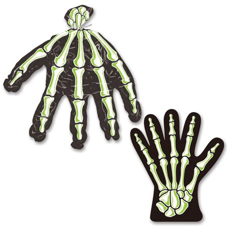 Pack of 240 Spooky Halloween Skeleton Hand Plastic Treat Bags with Twist Ties 11