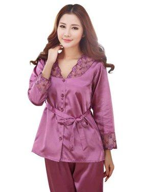 Product Image EFINNY Women s Silk Lace Long Sleeve Tops+Pants Nightwear  Sleepwear Set c88ef53e1