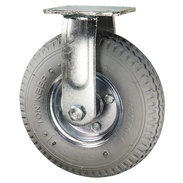 "Service Caster - 8"" Gray Pneumatic Rubber Wheel - Rigid Caster - 300 lbs. Capacity"