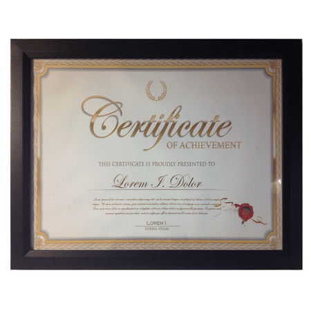 Frame Amo 8.5x11 Black Contemporary Wood Certificate Document Frame, Flat Border - Halloween Document Borders