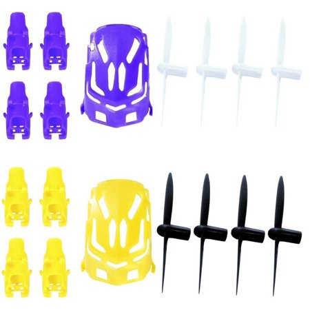 Hubsan Nano Q4 H111  Qty  1  Nano Body Shell H111 01 Purple Quadcopter Frame W  Motor Supports  Qty  1  Yellow  Qty  1  All Black Propeller Blade Set 32Mm Propellers Blades Props Quad Drone Parts  Qty