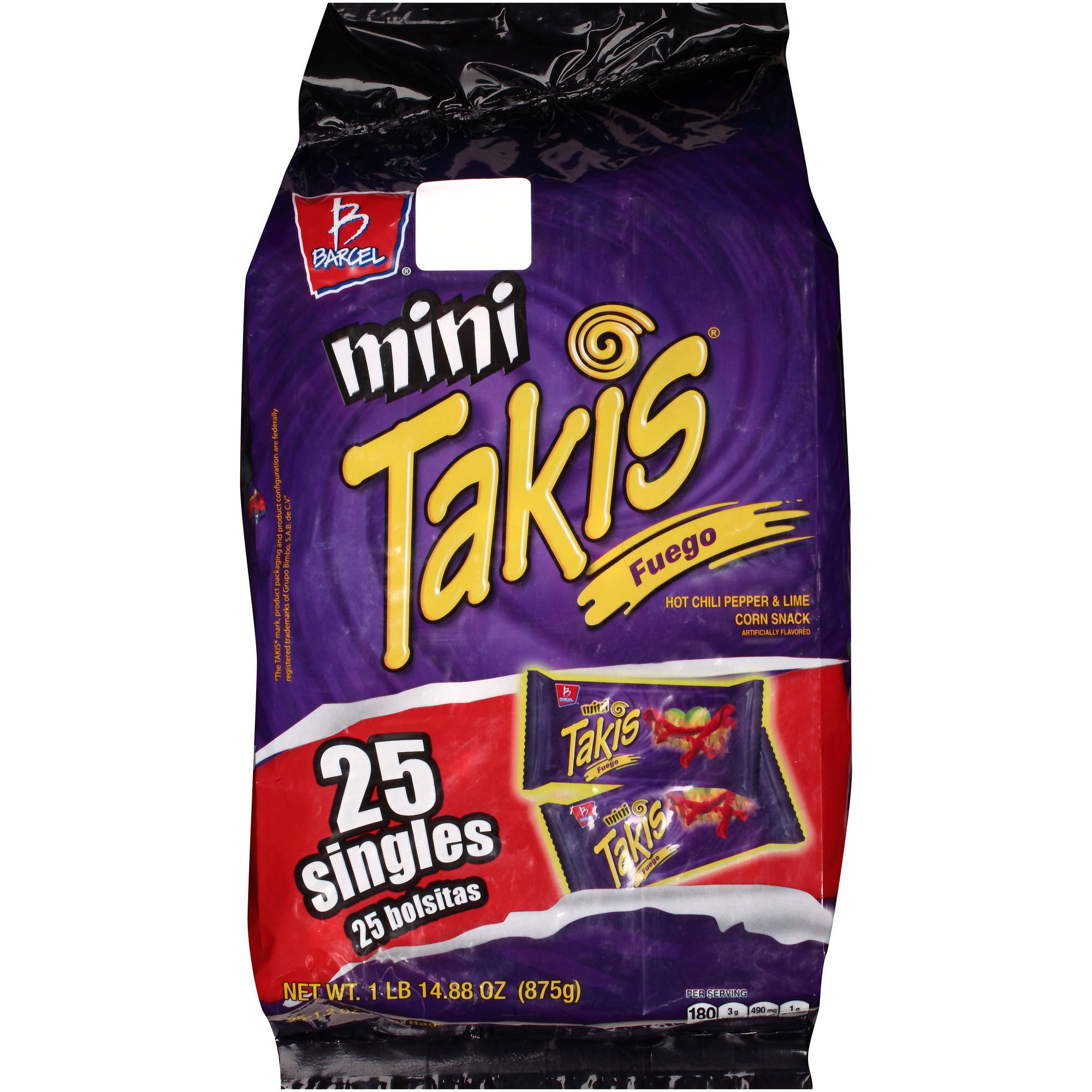 Barcel Mini Takis Fuego Corn Snacks, 1.2 oz, 25 count