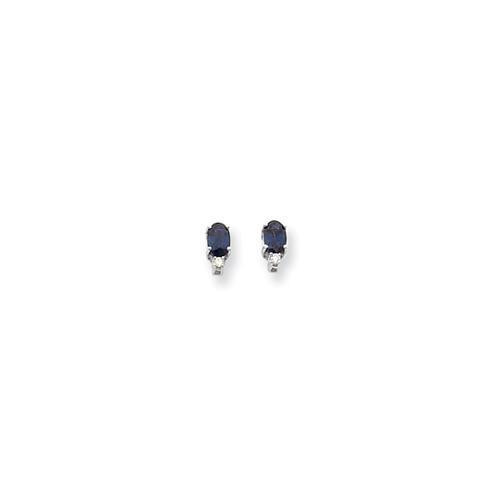 14k White Gold 6x4mm Oval Sapphire H-I SI2 Diamond Earrings. Carat Wt- 1.37ct