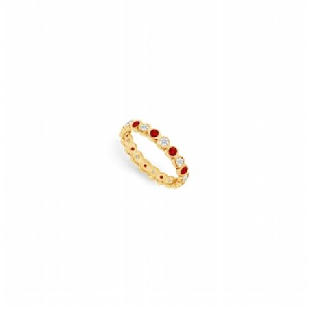 Diamond & Ruby Eternity Band 14K Yellow Gold, 1.00 CT - Size 5