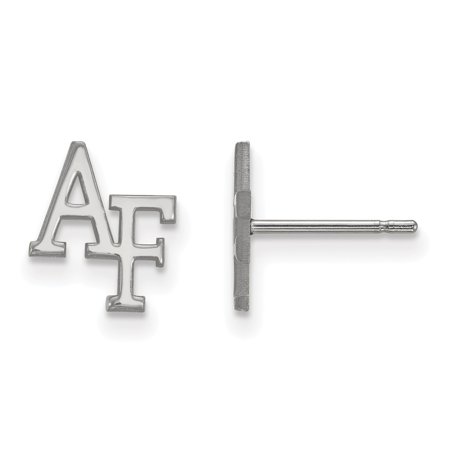 Solid 14k White Gold United States Air Force Academy Extra Small Post Earrings (8mm x