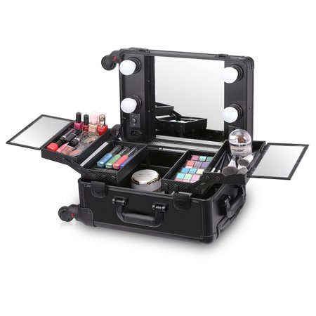 Ovonni LED Lighted Rolling Travel Makeup Train Case with Mirror & 4 Detachable Wheels, Lockable Professional Artist Salon Studio Aluminum Trolley Cosmetic Organizer with Lift Handle 4 (Rolling Makeup Case With Lights And Mirror)