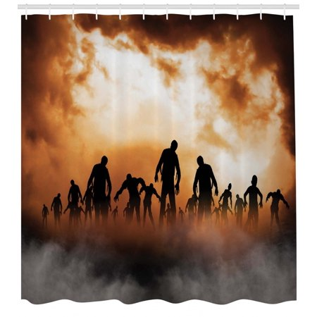 Halloween Shower Curtain, Zombies Dead Men Walking Body in the Doom Mist at Night Sky Haunted Theme Print, Fabric Bathroom Set with Hooks, Orange Black, by Ambesonne