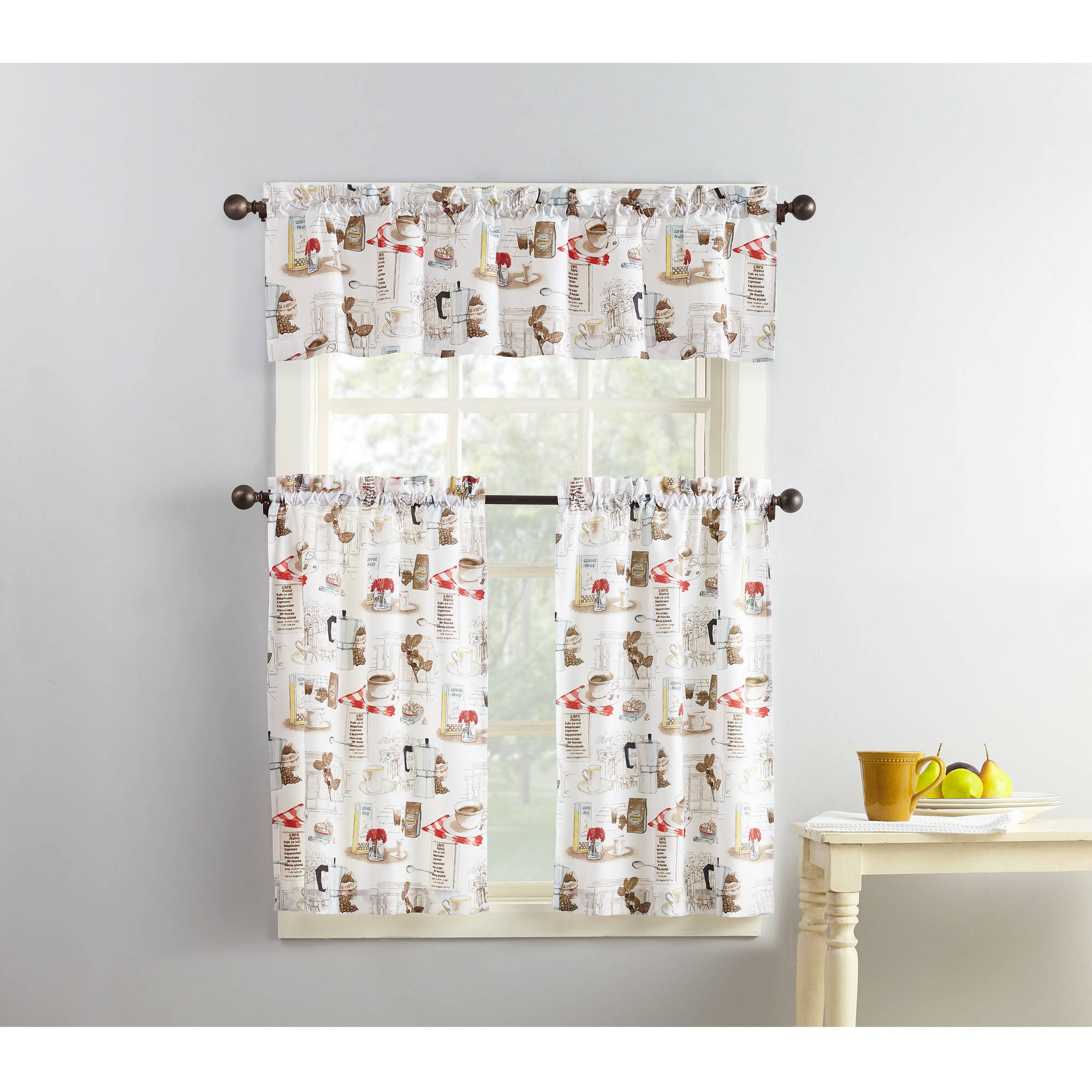marvelous Kitchen Curtain And Valance Set Part - 3: Mainstays Coffee Shop 3-Piece Kitchen Curtain and Valance Set - Walmart.com