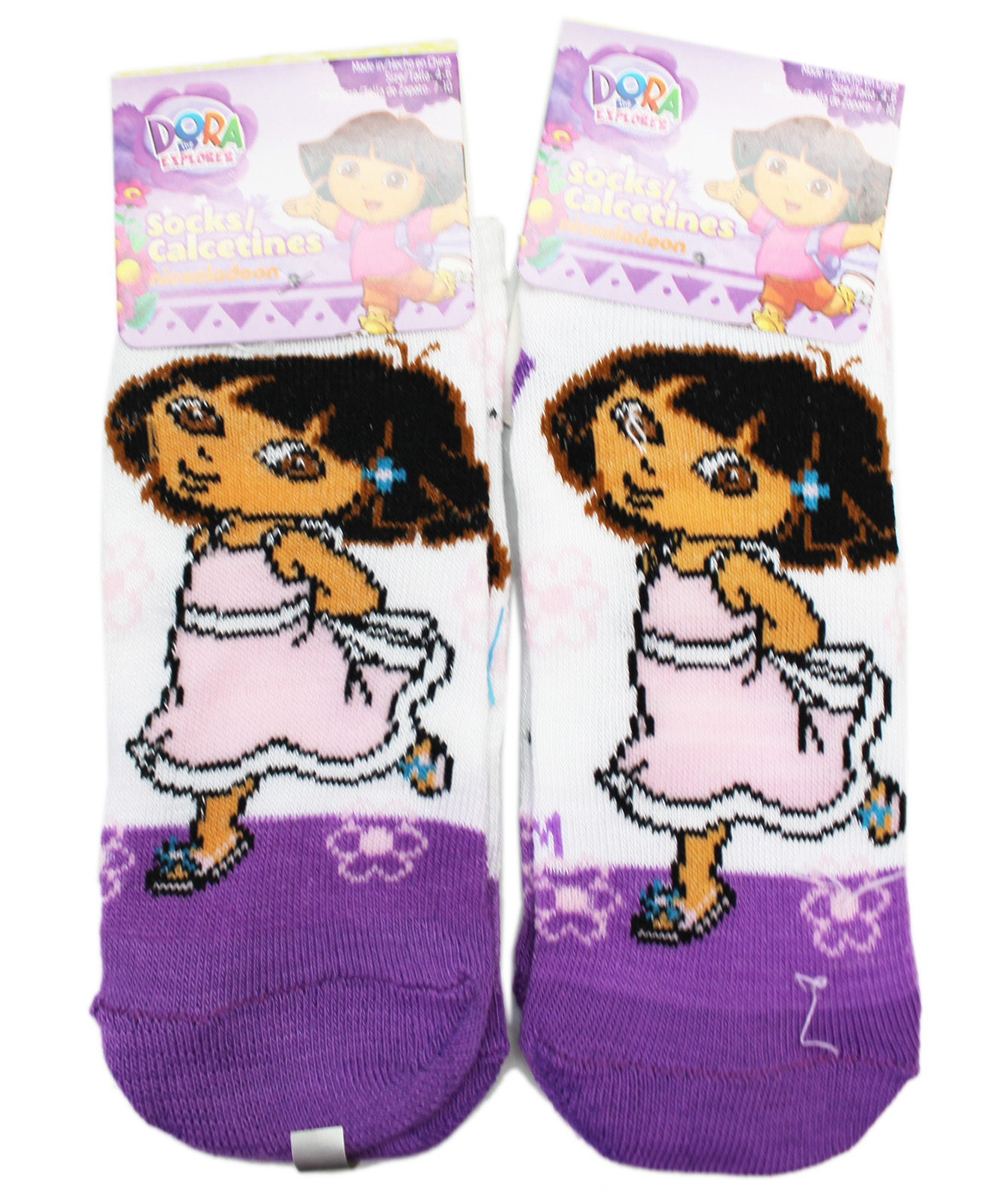 White w/Violet Toes Kids Socks (Size 4-6, 2 Pairs)