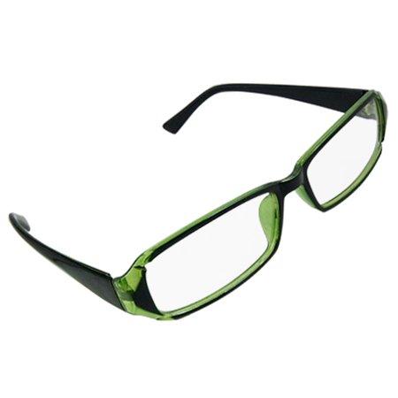 Black Green Full Frame Plastic Unisex Plano Glasses ...
