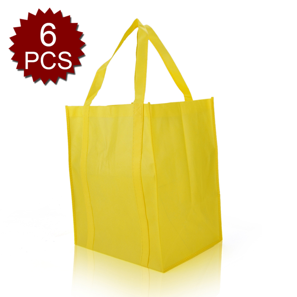 (Price/6 PCS) Aspire Large Reusable Reinforced Handle Grocery Tote Bag with Removable PVC Board Bottom-Yellow
