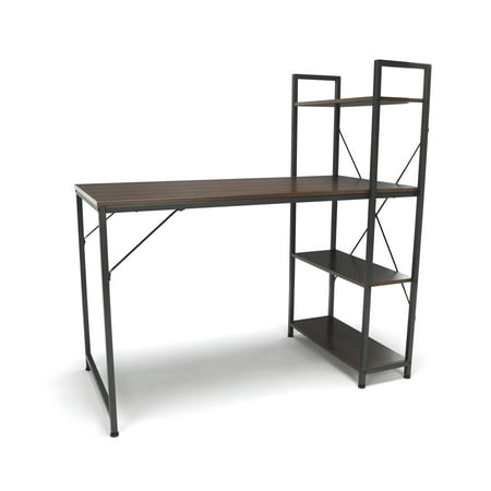 (Essentials by OFM ESS-1004 Combination Desk with 4 Shelf Unit, Walnut with Gray Frame)