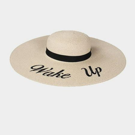 d0d7c495171 Amtal - Amtal Women Bold Cursive Embroidered Beach Floppy Sun Summer Hat w   Quotes - Walmart.com