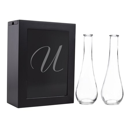 Sand Ceremony Shadow Box Set, Letter U, Black, Set Includes Large shadow box, Custom engraved glass insert, Two pouring vases By Cathy's Concepts It comes to you in New and Fresh state A top trending alternative for the traditional unity candle, the Unity Sand Ceremony Shadow Box Set comes complete with two pouring vases, an easy to open shadow box and personalized glass insert. Sand not included. What you see is what you will get