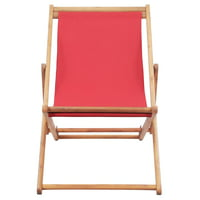 HERCHR Folding Beach Chair Fabric and Wooden Frame Red