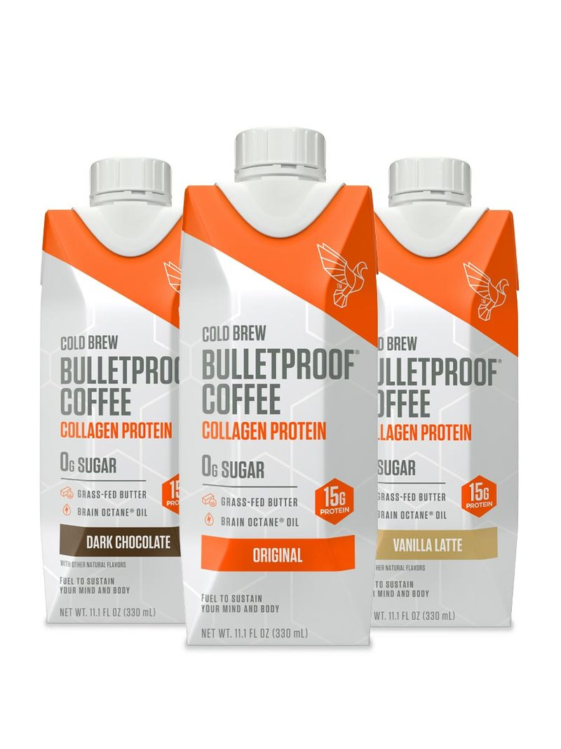 Bulletproof Cold Brew Coffee Plus Collagen Protein with Brain Octane MCT and Grass-fed, Keto Friendly, Variety Pack - 4 of each; Original, Vanilla Latte, Dark Chocolate (12 Pack total)