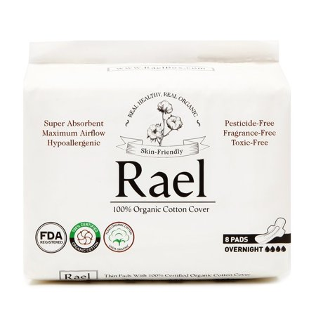 (2 Pack) Rael 100% Organic Cotton Overnight Pads with Wings, 8