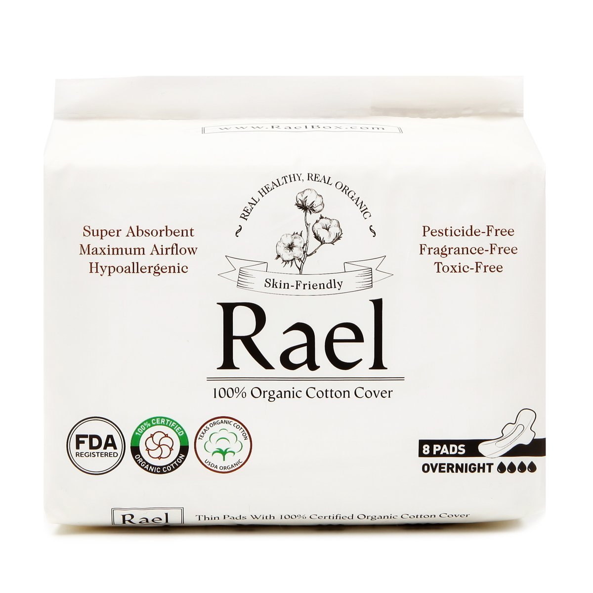 Rael 100% Organic Cotton Overnight Pads with Wings, 8 Count