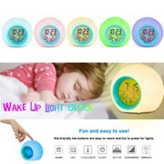 Electronic desk digital Home Decor Alarm Clock LED Round Gradient Light Alarm Clock Wake up Light with Intelligent Tempreture Sensing Date Snooze function