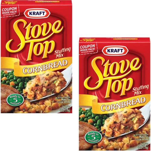 Kraft Cornbread Stove Top Stuffing Mix, 6 oz (Pack of 2)