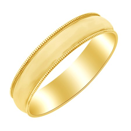 5mm Milgrain Half Round Band Ring in 10k Yellow Gold Ring Size : 13.5