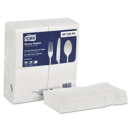 Tork Advanced Soft Dinner Napkins, 2-Ply, 15x17, 1/8 Fold, Poly-Pack, White, 2000/Ct