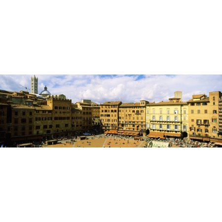 Tower attached to a town hall Torre Del Mangia Palazzo Pubblico Piazza Del Campo Siena Siena Province Tuscany Italy Stretched Canvas - Panoramic Images (27 x 9) (Town Hall 9 Halloween)