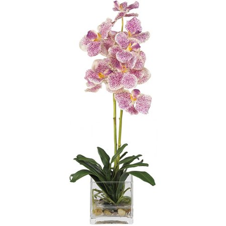 Vanda With Glass Vase Silk Flower Arrangement