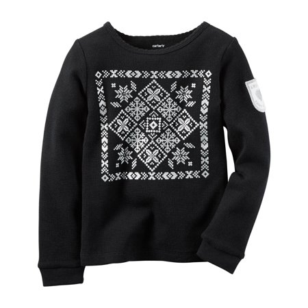 59ce36139a874f Carter's - Carters Toddler Clothing Outfit Little Girls Long-Sleeve  Snowflake Thermal Black - Walmart.com
