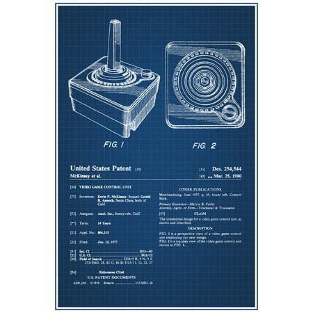 Atari joystick 2600 retro video games official patent blueprint atari joystick 2600 retro video games official patent blueprint poster 12x18 inch malvernweather Image collections