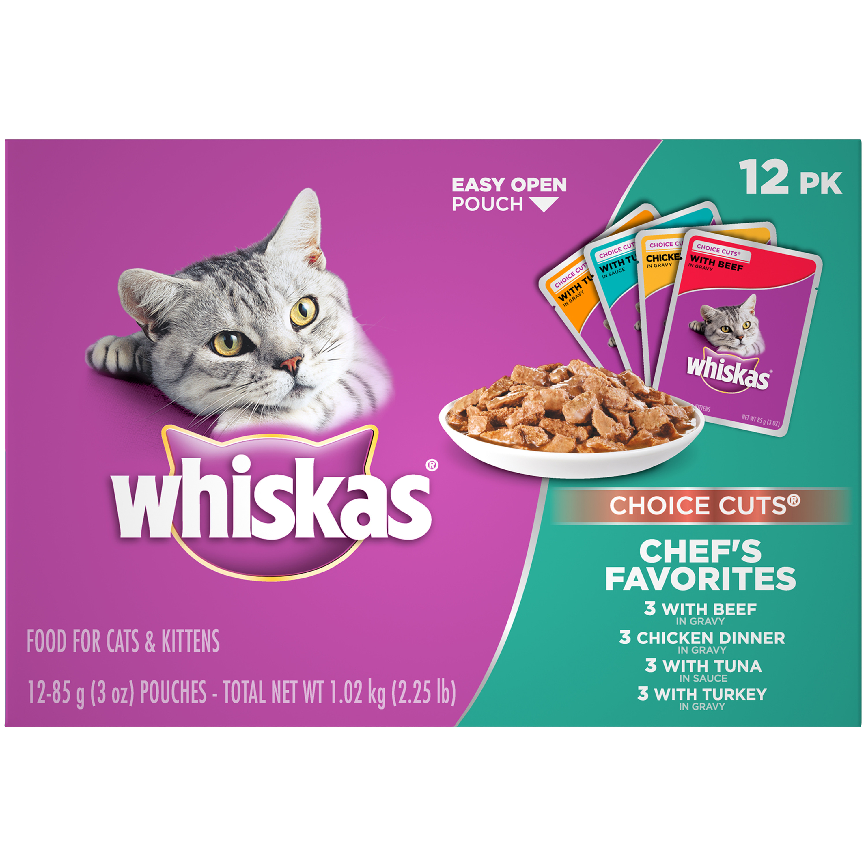 WHISKAS CHOICE CUTS Chef's Favorites Variety Pack Wet Cat Food Pouches, (12) 3 oz. Pouches