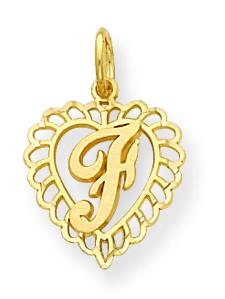 0.91 in x 0.59 in 14K Gold Initial L Charm Pendant